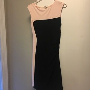Baby pink and black colorblock ruched sheath dress
